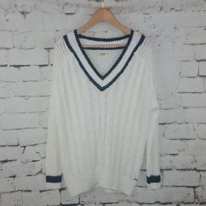Hollister Knit Black + White Varsity Sweater